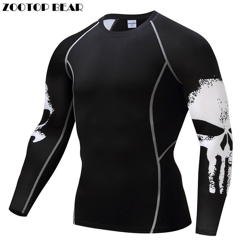 Castigador compresión de la camisa de los hombres transpirable de secado rápido T camisa culturismo superior Crossfit camiseta de Fitness de levantamiento de peso de capa Base