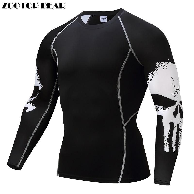 Punisher Compression Shirt Da Uomo Traspirante Quick Dry T Shirt Bodybuilding Top Tee di Fitness Crossfit sollevamento Pesi Strato di Base