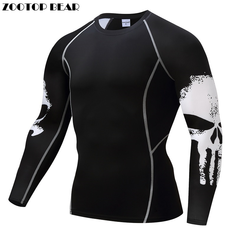 Punisher Compression Shirt Da Uomo Traspirante Quick Dry T Shirt Bodybuilding Top Tee di Fitness Crossfit sollevamento Pesi Strato di Base