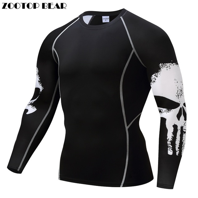 654c8293 Punisher Compression Shirt Men Breathable Quick Dry T Shirt Bodybuilding  Top Crossfit Tee Fitness Weight lifting Base Layer