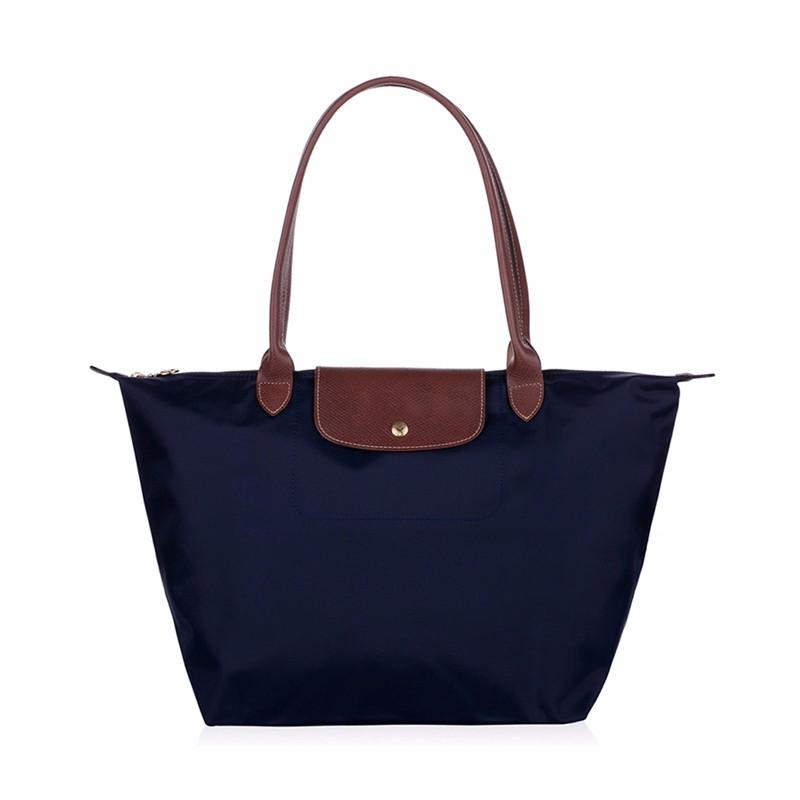 New-folding-shopping-bag-women-nylon-bag-casual-tote-bag-lightweight-foldable-waterproof-nylon-handbag-black (5)