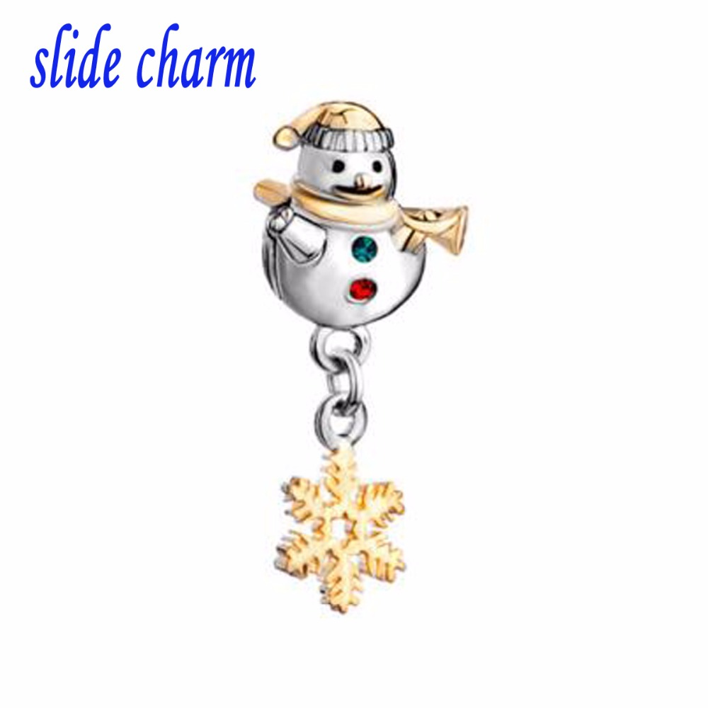 slide charm Free shipping Mothers Day luxury brand drape golden snowflakes snowman fit Pandora charm bracelet Christmas 1