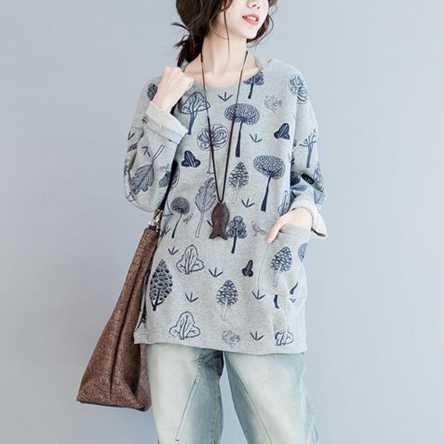 MissLymi 5XL 6XL Plus Size Mulheres Camisola de Algodão 2016 Outono Inverno Espessamento Impressão Casual Solto Longo-sleeved Hoodies 022