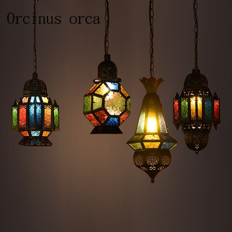 Mediterranean industrial retro Morocco Iron Chandelier European style personalized creative coffee shop Chandelier free shipping european style luxury retro chandelier living room mediterranean style rural glass chandelier free shipping