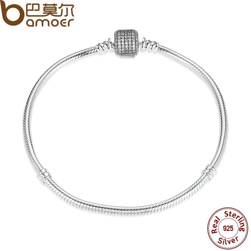 BAMOER 925 Sterling Silver Love Heart Chain Bracelet for Female Charms Bracelets amp Bangles Silver Jewelry PAS907