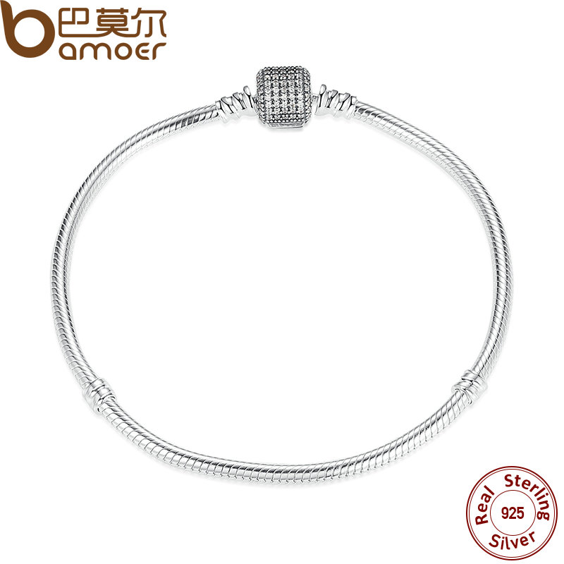 Bamoer plata esterlina 925 amor corazón cadena pulsera para mujer Amuletos pulseras AMP Brazaletes plata pas907