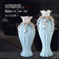 ceramic blue creative concise abstract flower vase pot home decor craft room decoration handicraft porcelain figurine