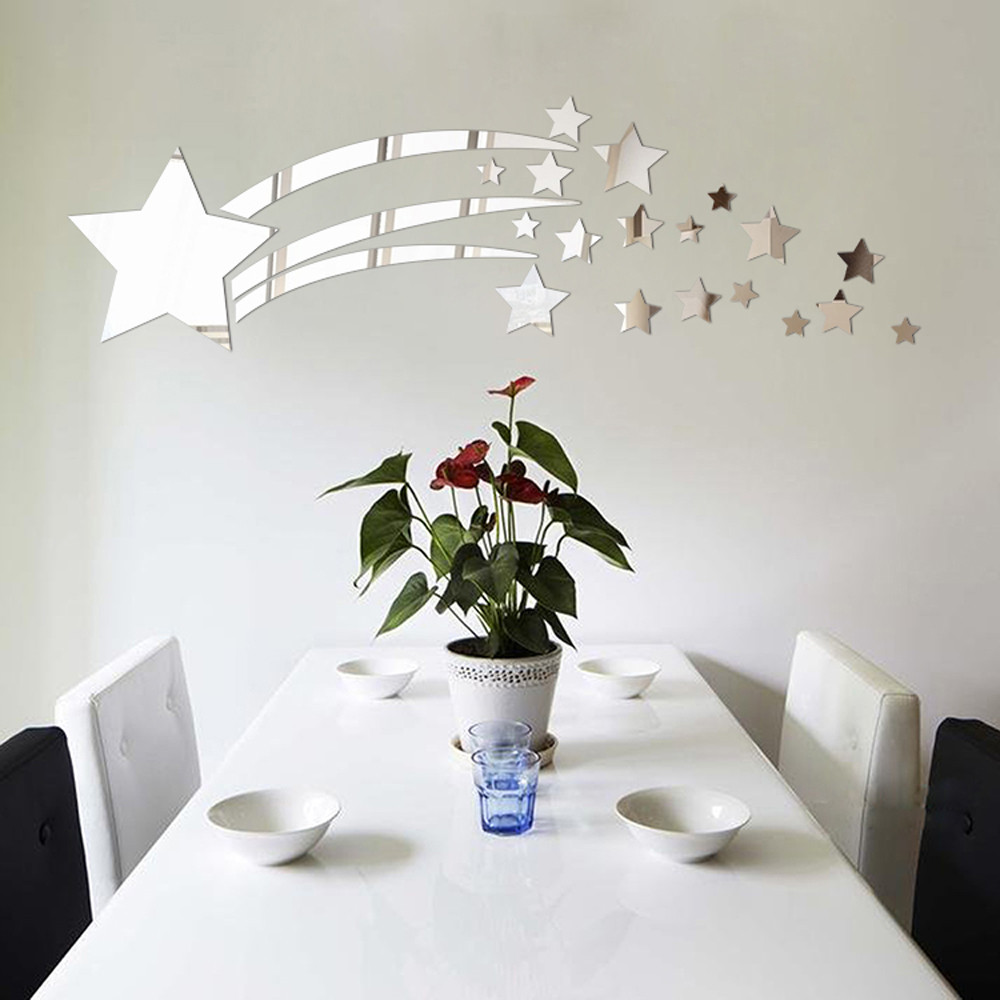 6pcs Silver Wave Shape Art Decal Mirror Vinyl Wall Stickers HOme Room Decor