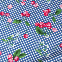 Telas Vintage Blue Plaid Red Cherry Cotton Patchwork Fabric Meter Sewing Dresses Textile DIY Material Tecidos
