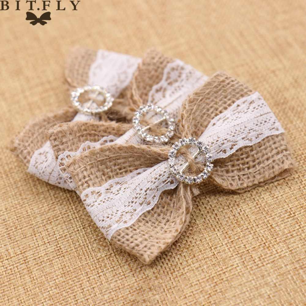 DIY Jute Burlap ลูกไม้สีขาวกับหัวใจ Rhinestone หัวเข็มขัดงานแต่งงานตกแต่งผมหมวกหัตถกรรมวันเกิด Gif กล่อง