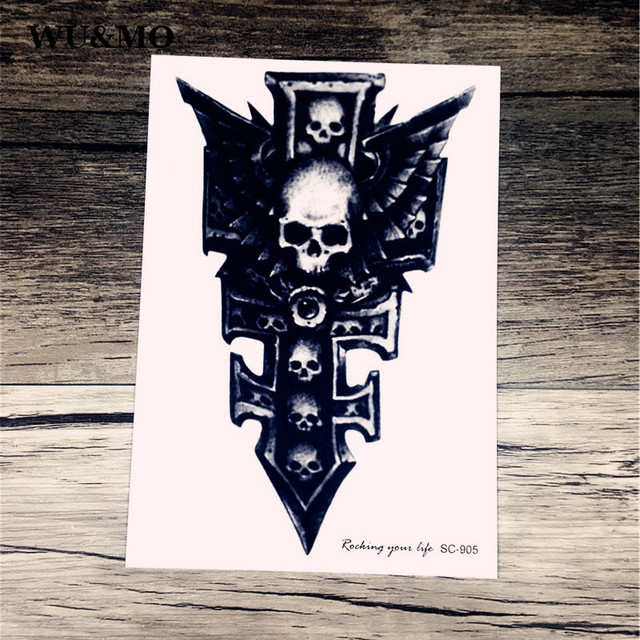 SC2905 Large 3D Symbol Sword Skull Halloween Horrible Designs Cool Chest Body Art Temporary Tattoo Stickers