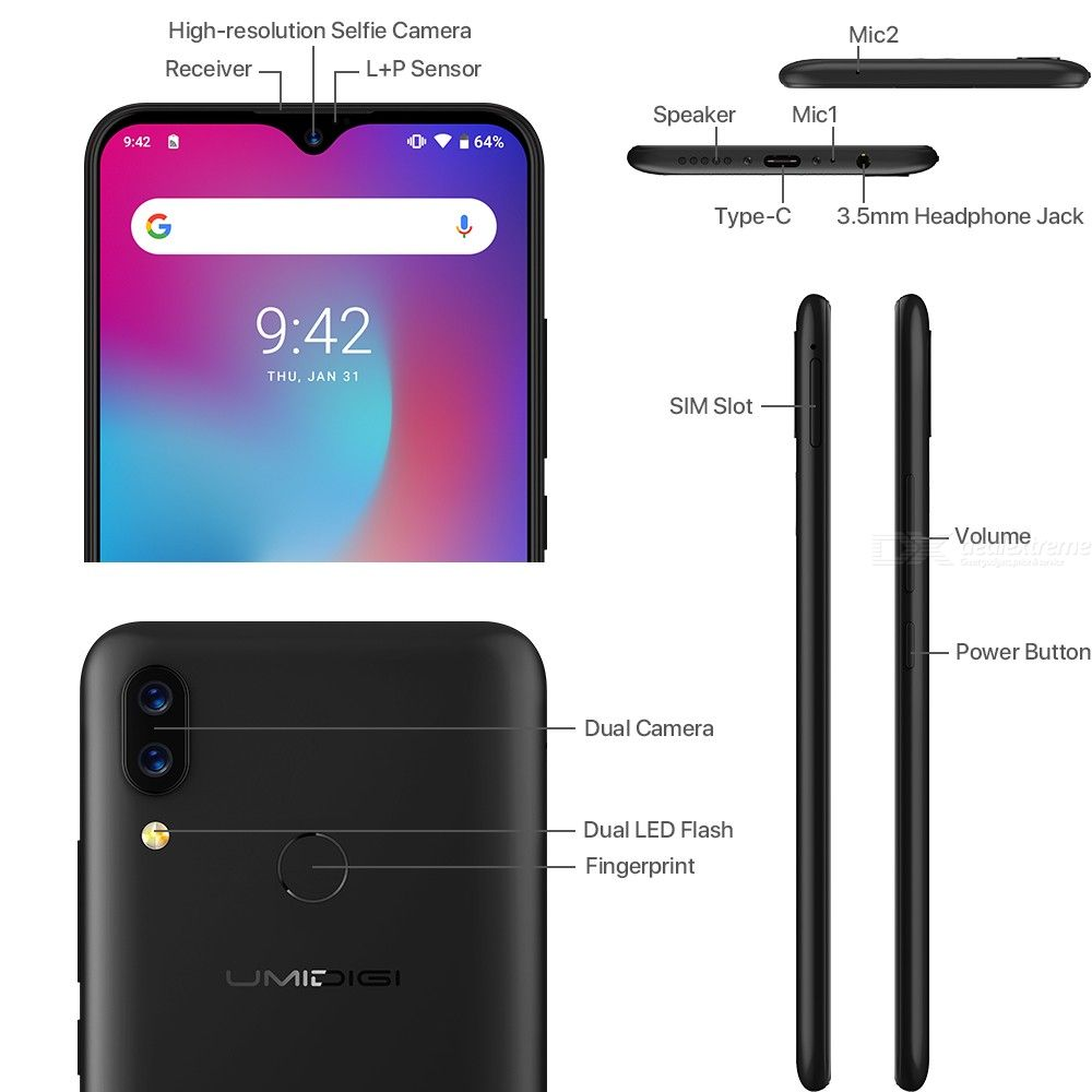 Image 3 - UMIDIGI Power Android 9.0 5150mAh Big Battery 18W 6.3' FHD+ Waterdrop Screen 4GB+64GB Helio P35 Global Version Smartphone 16MP-in Cellphones from Cellphones & Telecommunications