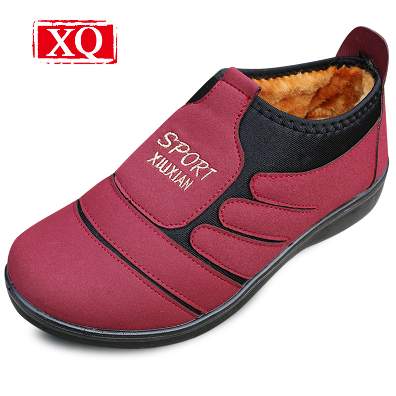 XQ New Brand Winter Women Boots Ankle Snow Boots Warm Shoes Lightweight Non-slip Round Toe Boot Soft Women Short Plush Flats 315 snow fur slip on fashion round toe winter boots women ankle flat shoes celebrity gray bow booties chinese female short new