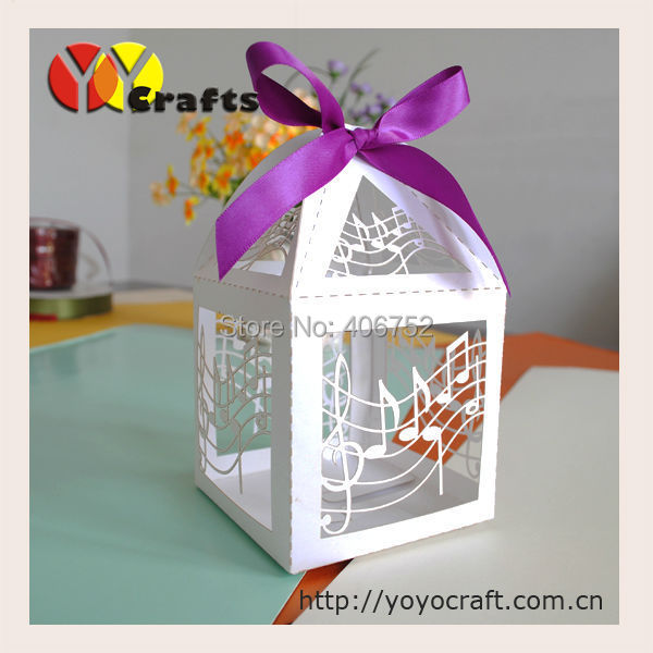 Music Theme Hot Sale White Laser Cut Wedding Cake Favor Box