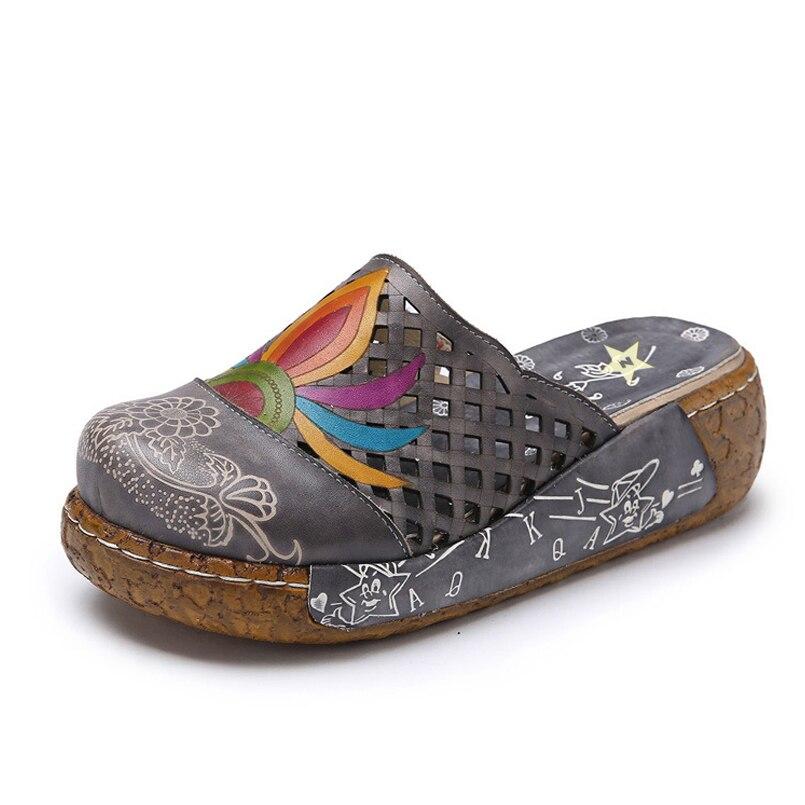 Flop Tacón Verano Étnicos Las Zapatos Floral De Flip Plataforma Sandalias gray Grueso Casuales Zapatillas Mujer Z Sapphire Mujeres xq4wIYv6