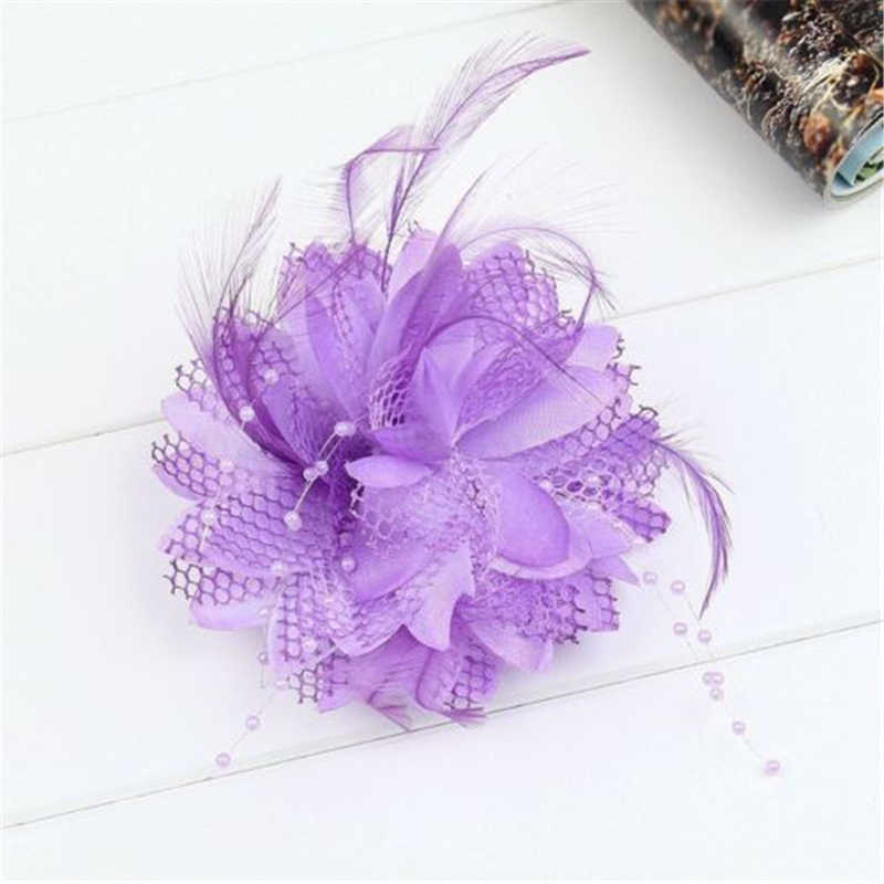 1e0dc86c2d6dc ... Women Small Sinamay Fascinators Feather Flowers Hair Clip Bridal Hair  Accessories For Wedding 8Colors ...