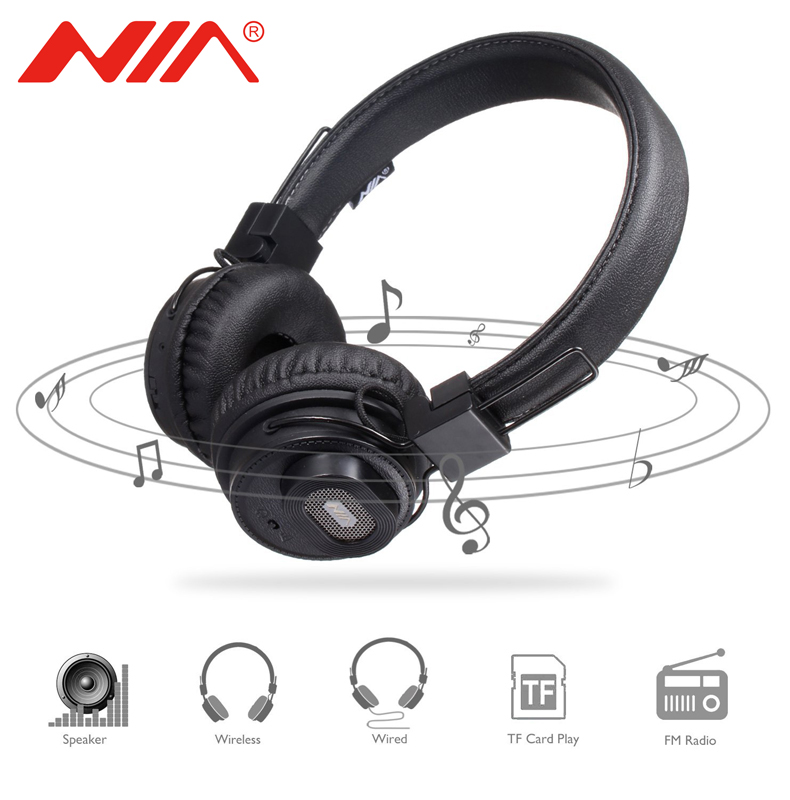 NIA X5SP Original Wireless Bluetooth Headphone With Speakers 5 in 1 Sport Headset TF Card Player,FM Radio,APP, and Sharing Port nia 1682s original stereo headphones 10 colors collapsible music player portable headset support tf card fm radio free shipping