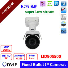 5.0MP Realtime record ,Bullet IP Camera With POE,1/1.8″ SONY  Low Illumination, Outdoor Waterproof IP66,P2P Onvif Phone View