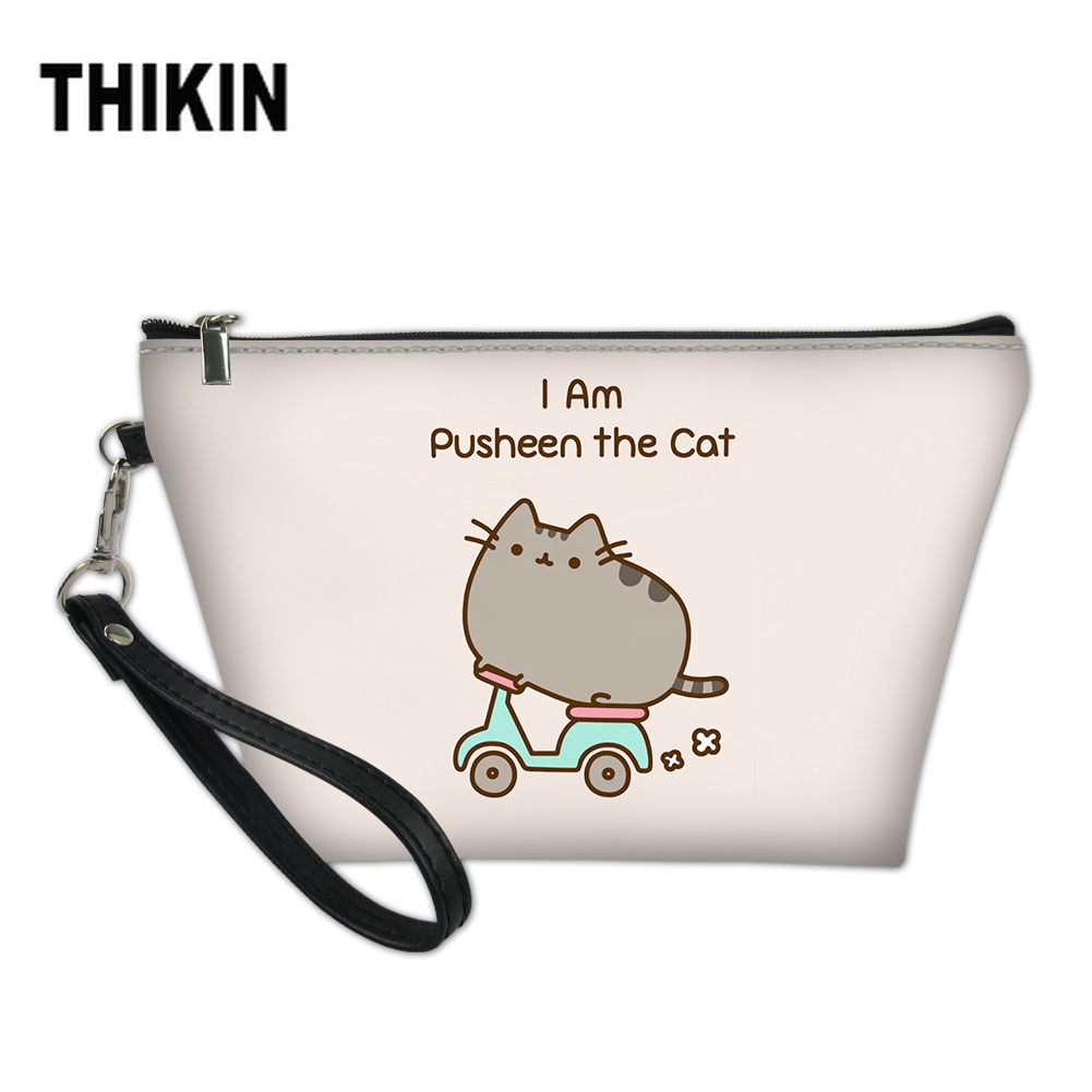 THIKIN Ladies Cosmetic Bag Cute Cute Cat Printing Makeup Organizer Bags Travel Beauty Cartoon Case Box Neceser Maquillaje in Cosmetic Bags Cases from Luggage Bags