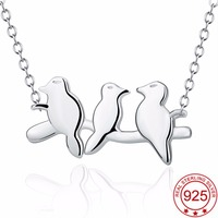 YAFEINI 925 Sterling Silver Family Pendant Necklace Fine Jewelry Birds On Branches Parents With Child Family