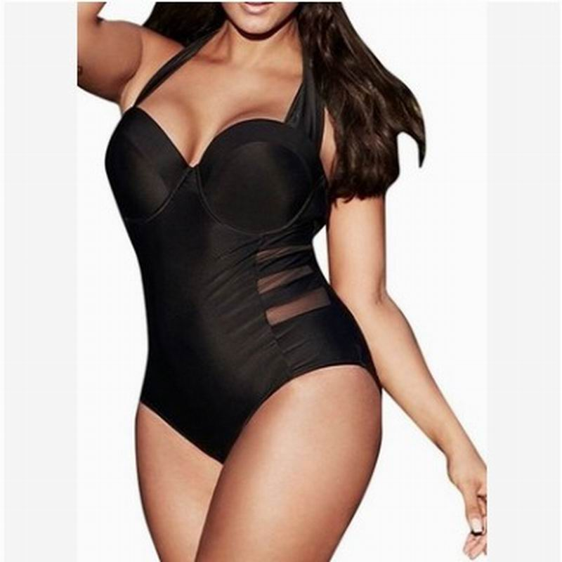Swimming Suit For Women 2018 New Solid Thin One Piece Sexy Bikini Conservative Plus Size Swimwear Size M~7XL kangfeng серый цвет 7xl
