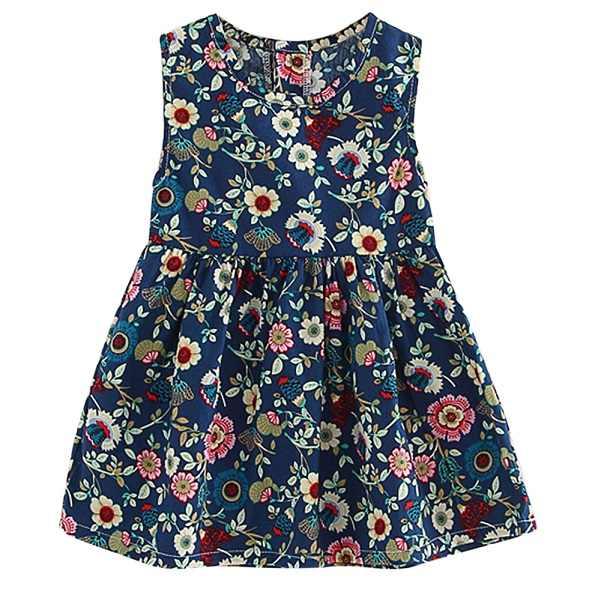 Crianças vestidos crianças menina sem mangas flor impressão algodão e linho vestido floral do bebê primavera verão vestido vestidos
