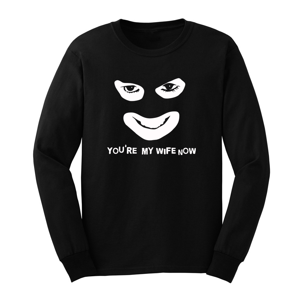 Loo Show Mens You're My Wife Now Funny Face Long Sleeve T Shirts Casual Men Tee
