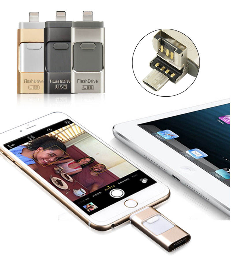 все цены на  64G 3in1 USB Drive Memory Stick U Flash Disk For iPhone 7 6 6S Plus 5S for iPad Pro Air Android OTG Phone Samsung HTC LG HUAWEI  онлайн