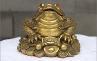 China Brass Copper Fengshui Lucky Yuanbao Wealth Money Frog Golden toad Statue