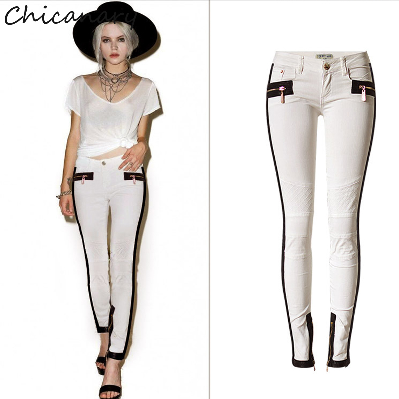 Women Low Waist PU Leather Patchwork Slim Stretch Pants Splicing Leather Mesh Embroidered Jeans