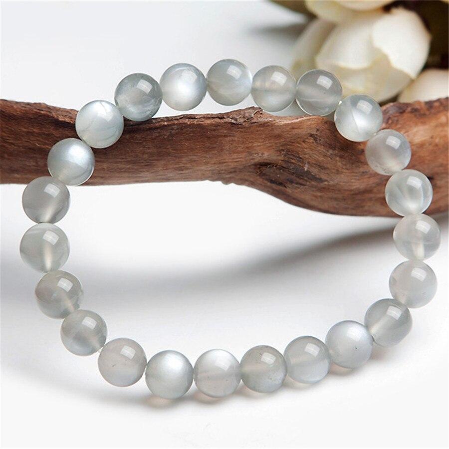 En gros 8mm véritable pierre de lune gris naturel blanc Flash Quartz cristal perles rondes bijoux extensible bracelet à breloques Femme