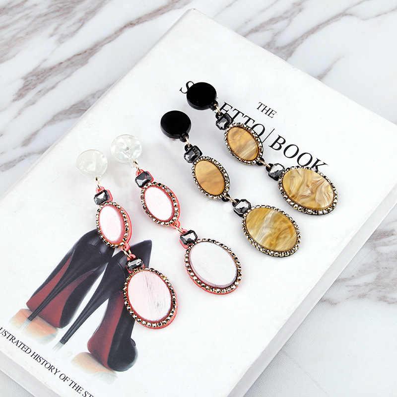 Boho Rhinestone Acrylic Tortoise long Korean Earrings 2019 For Women Round Drop Dangle Earring Geometric earings fashion jewelry