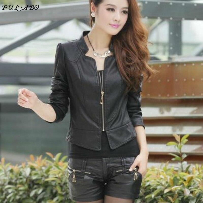 Plus Size 2019 Spring Winter Women Black Slim Cool Lady PU   Leather   Jackets Sweet Female Zipper Faux Femme Outwear Moto Coat