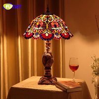 FUMAT Tiffany ART Table Lamp Living Room Bedside Table Lamps Quality Stained Glass Lightings For Office Bar LED Table Lights