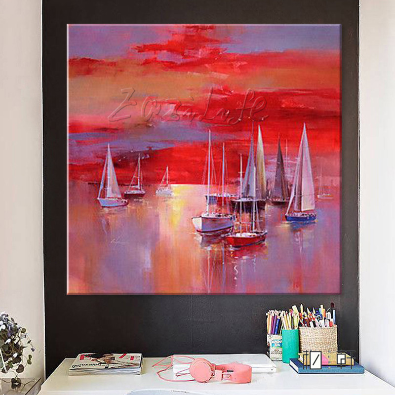 Hand painted <font><b>boat</b></font> Canvas Oil painting Wall Pictures for Living room wall decor art canvas painting palette <font><b>knife</b></font> <font><b>boat</b></font> 45 image