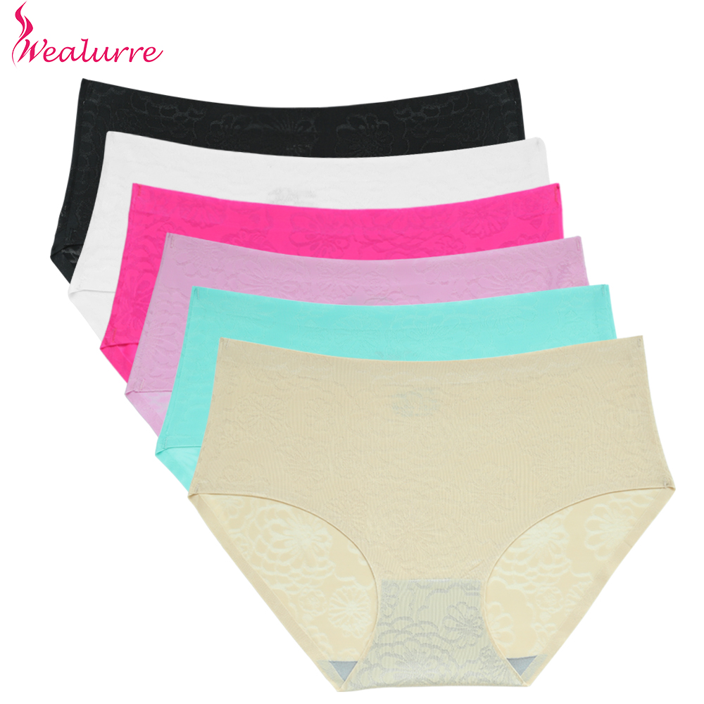 Wealurre  Women's Mid Rise Seamless Panties Solid Transparent Briefs Comfy Stretchy Elastic Bikinis Floral Sheer Underwear