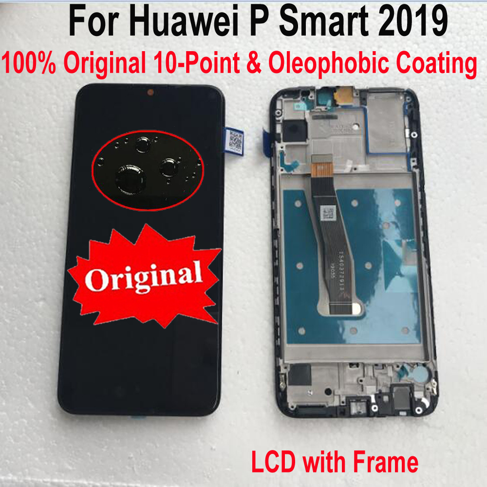 Original Best LCD Display Touch Screen Digitizer Assembly Frame Glass Sensor For Huawei P Smart 2019