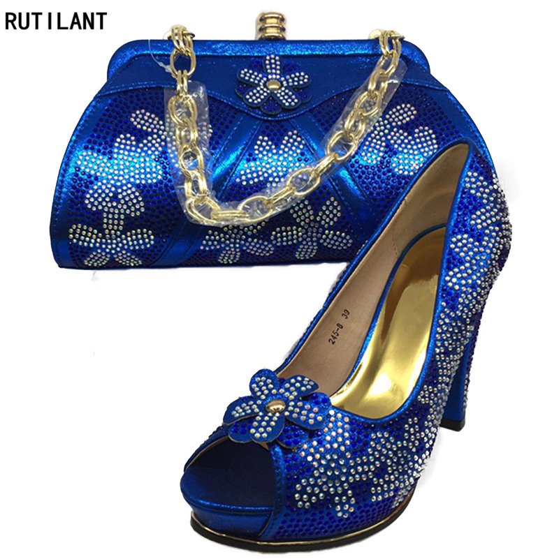 Zapatos Bolsa Mujeres pink Del Cielo Decorado Blue Azul Negro Color royal Conjunto Señoras Italianos Con Blue Diseño oro Rhinestone Y Nigeriano Zapato sky Las Bolso BSvPqTBw