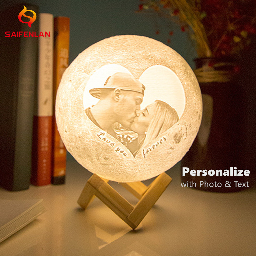 Drop Shipping Photo Custom Moon Lamp 3D Printing Moonlight Night Light USB Rechargeable Personality Luna With Your Text & Photo