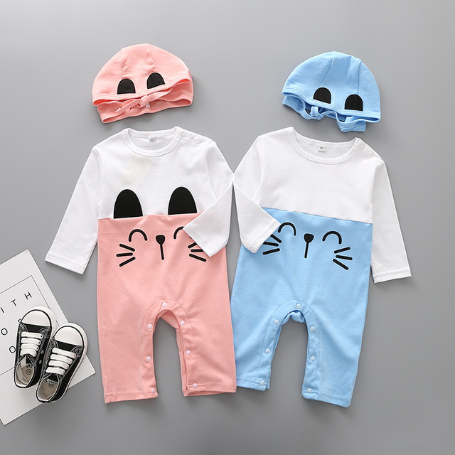 186d9792a0369 US $9.83 26% OFF|Spring Baby Rompers Cotton Baby Boy Clothes Baby Girl  Clothes Newborn Baby Clothes Roupas Bebe Infant Jumpsuits Cartoon Cat-in ...