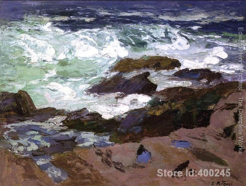Decorative art Wild Surf Ogunquit Maine by Edward Henry Potthast paintings for bedroom Hand painted High quality
