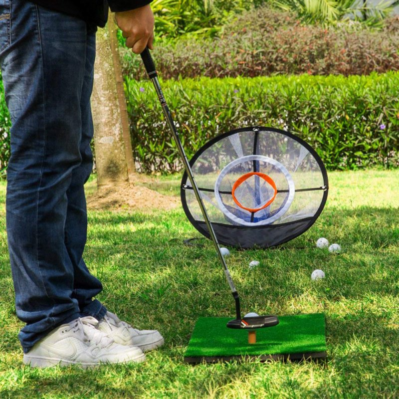Golf Indoor Outdoor Chipping Pitching Cages Mats Practice Easy Net Golf Training Aids Metal + Net