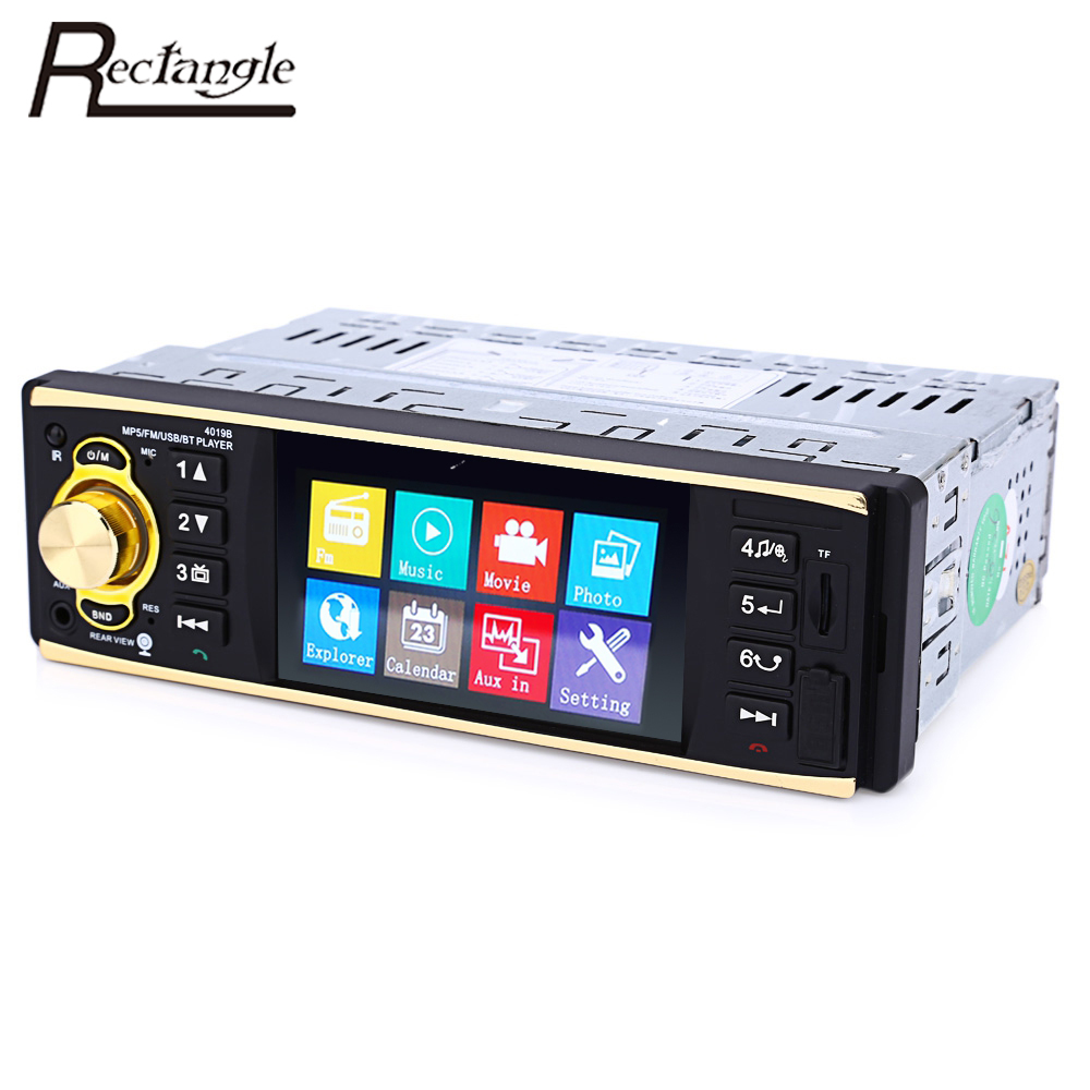 rectangle 4019b 4 1 inch 1 din car radio auto audio stereo. Black Bedroom Furniture Sets. Home Design Ideas