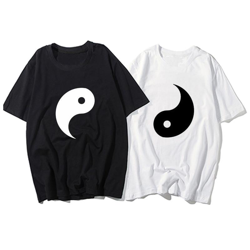 New Fashion Couple T-shirt Summer Short Sleeve T-shirt Printing Yin Yang Gossip Women Funny T Shirt Loose T-shirt Plus Size Tops