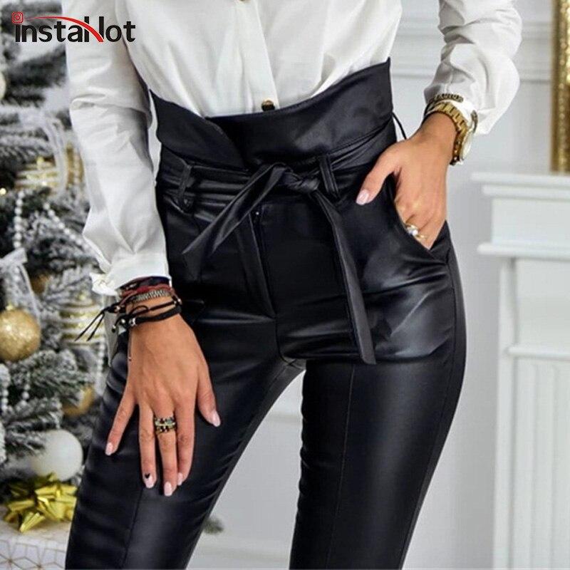 InstaHot Gold Schwarz Gürtel Hohe Taille Bleistift Hose Frauen Faux Leder PU Schärpen Lange Hosen Casual Sexy Exklusive Design Mode