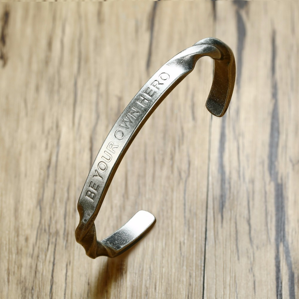 Mens Bracelet Inspirational BE YOUR OWN HERO Stainless Steel Twisted Cuff Bangle Vintage Silver Tone Gift for His Male Jewelry Mens Bracelet Inspirational BE YOUR OWN HERO Stainless Steel Twisted Cuff Bangle Vintage Silver Tone Gift for His Male Jewelry