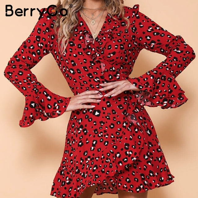 db5c97e5ca4 BerryGo Vintage red leopard wrap mini dress Ruffles long flare sleeve  sashes bodycon women dress Sexy winter print vestidos 2018