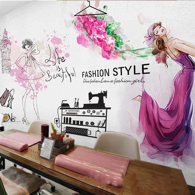 Free Shipping 3D Hairdressing shop Manicure beauty salon cosmetics shop watercolor figure background wallpaper mural