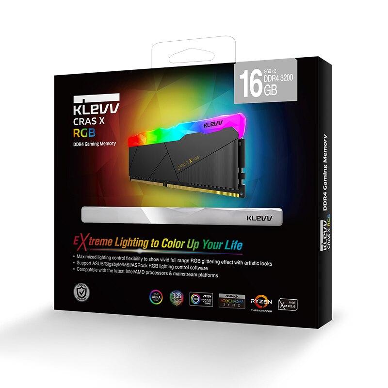 Klevv CRAS-X 16 GB 2X8 GB Double-canal DDR4 RGB 3200 MHz DIMM ordinateur de bureau de mémoire mémoire interne Soutien mère ddr4 3200 MHZ