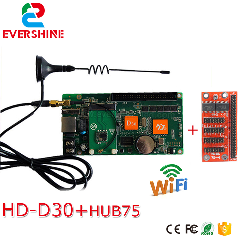 HD-D30+WIFI LED full color dispaly screen control card d30+hub75 adapter card 1024W*64H px USB asynchronous card for Hot Sale bx 6q3 usb and ethernet port lintel full color led control card asynchronous video led sign controller 384 1024 512 768pixels